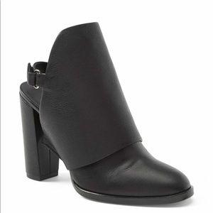 Vince black leather Jody sling back shield bootie